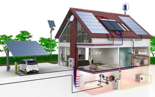 Einfamilienhaus Energieversorgung mit Solar © arsdigital, fotolia.com
