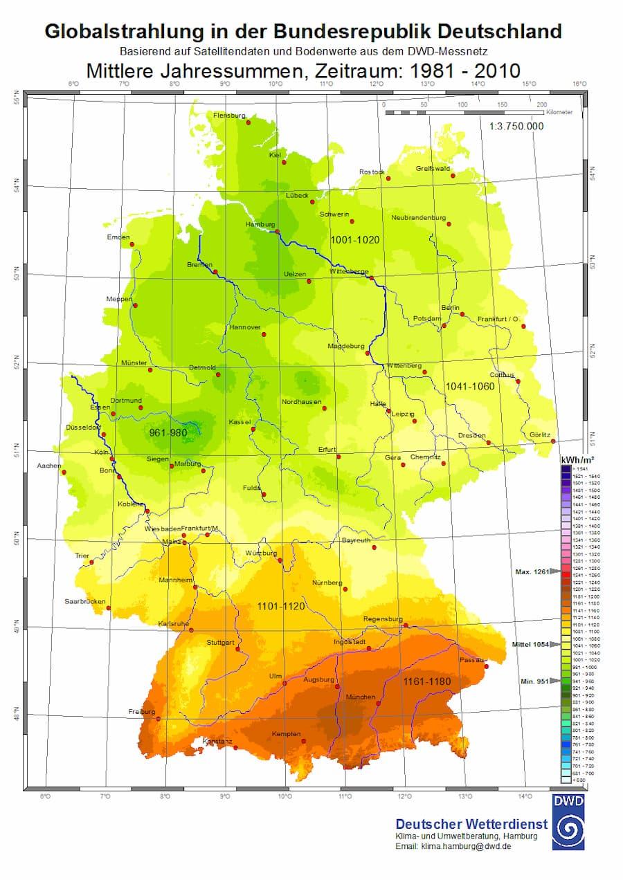 Globalstrahlung Deutschland Jahressumme © Deutscher Wetterdienst