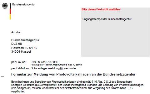 Bundesnetzagentur photovoltaik anlagenregister