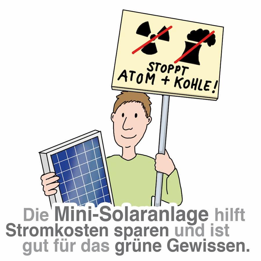 Die Mini-Solaranlage hilft Stromkosten zu sparen und ist gut für die Umwelt
