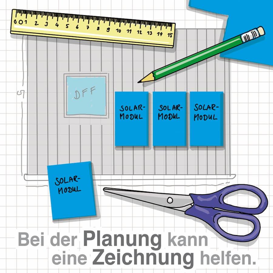 Anlagengröße: Bei der Planung kann eine Zeichnung helfen