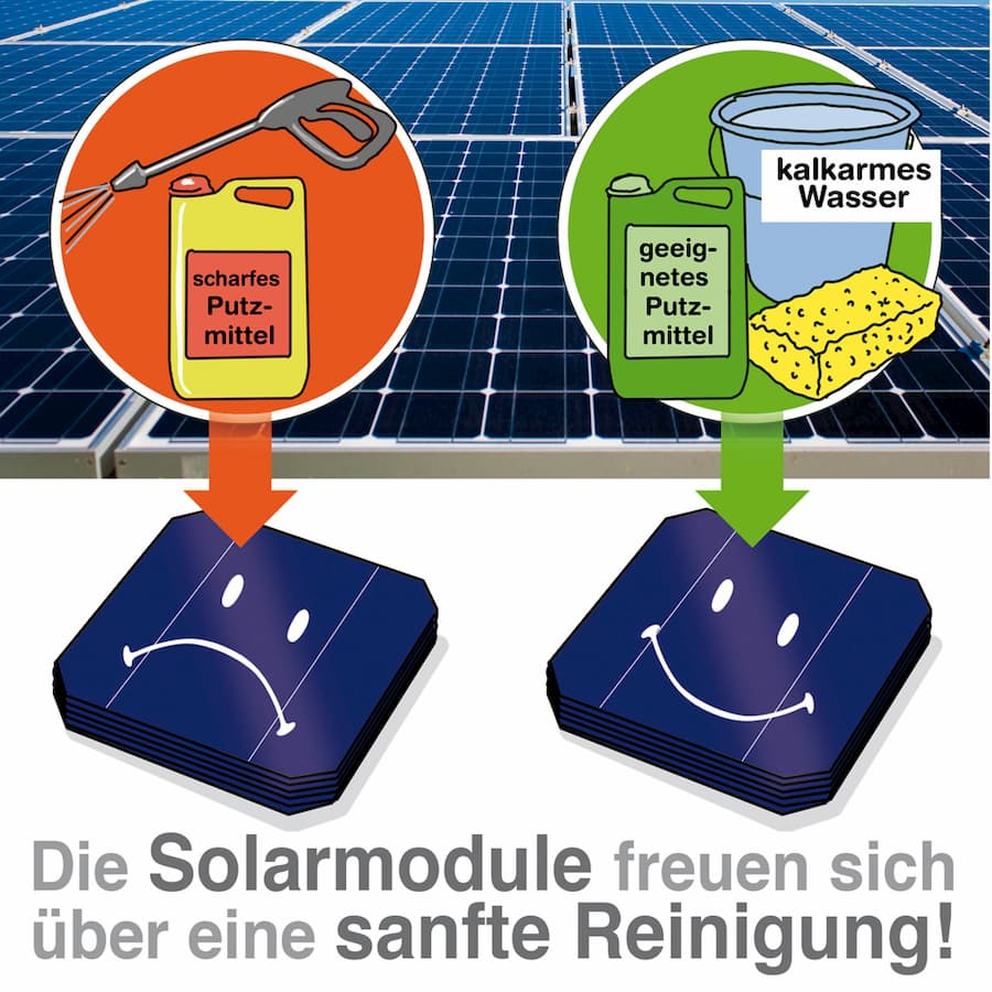 Sanfte Reinigung der Solarmodule