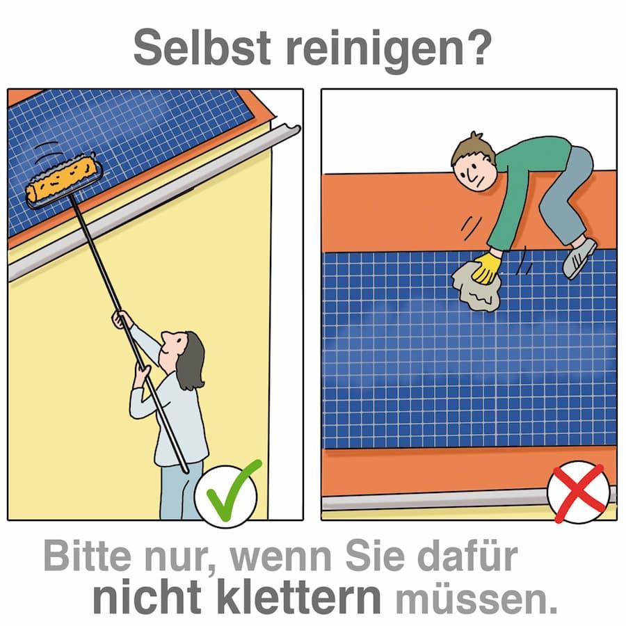 Solaranlage selber reinigen: Sicherheit beachten