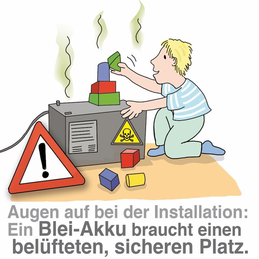 Blei-Akku-Stromspeicher benötigen einen belüfteten, sicheren Platz