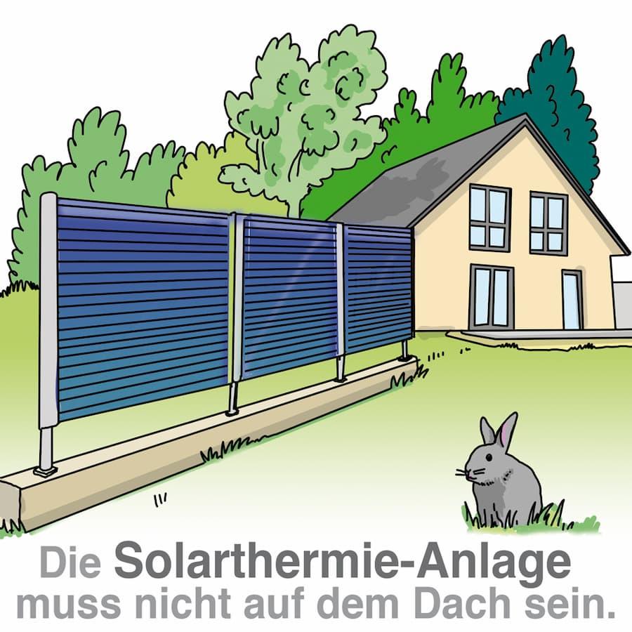 Die Solarthermie-Anlage muss nicht zwingend auf dem Dach sein