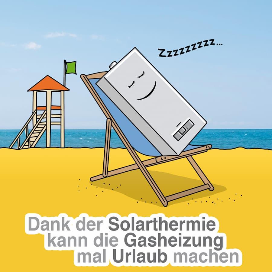 Dank Solarthermie kann die Gasheizung auch mal Urlaub machen