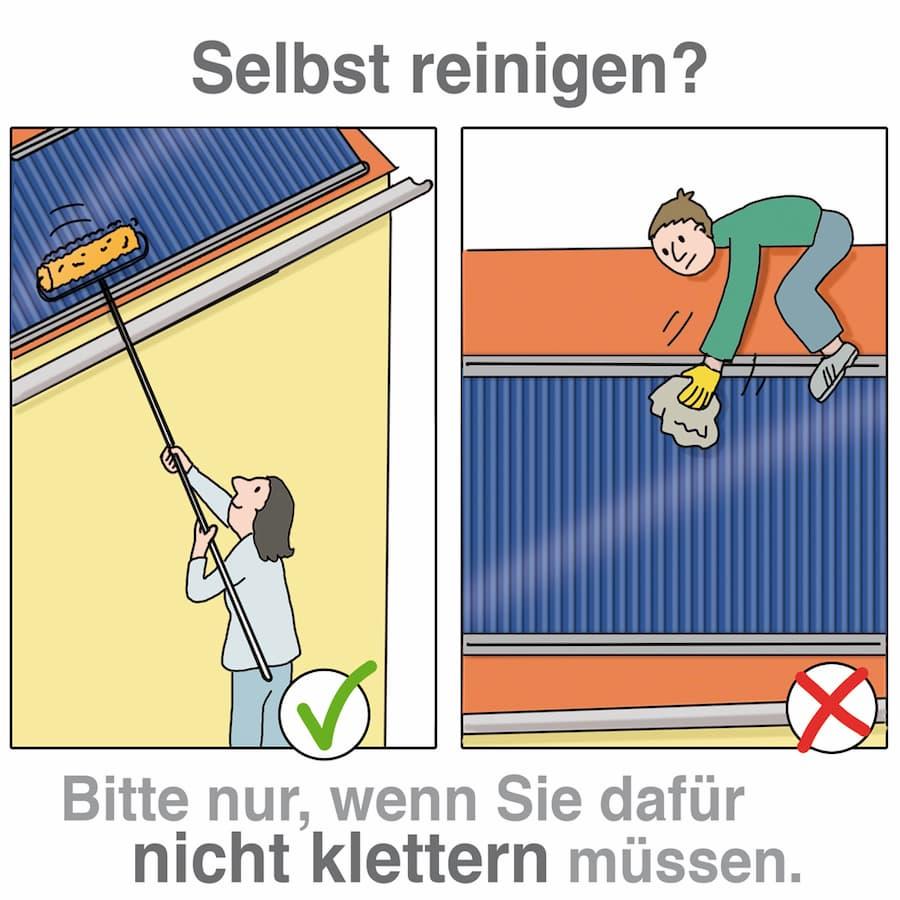 Solarthermie: reinigen Sie nur selbst wenn Sie sich nicht in Gefahr begeben